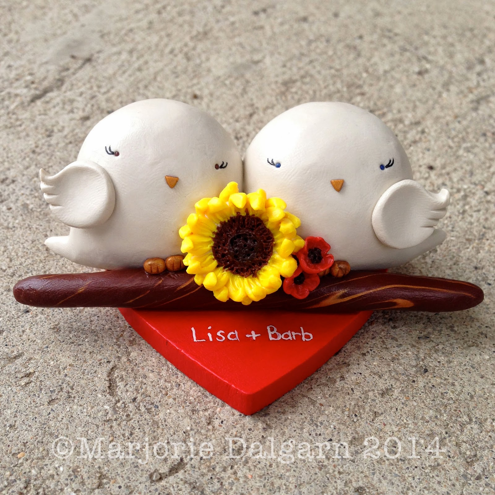 3moonbabies.etsy.com | custom lovebird wedding cake topper