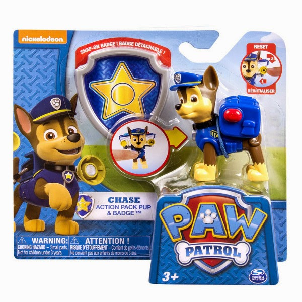 JUGUETES - Paw Patrol  Action Pack Pup & Badge - Chase | Figura - Muñeco + Placa  Producto Oficial Serie Nickelodeon | Spin Master | A partir de 3 años