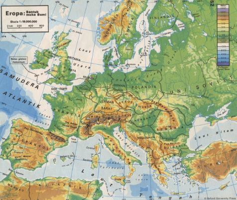 Contoh peta topografi. (Sumber: Atlas Geografi Indonesia, dan Dunia, Pustaka Ilmu 1984)