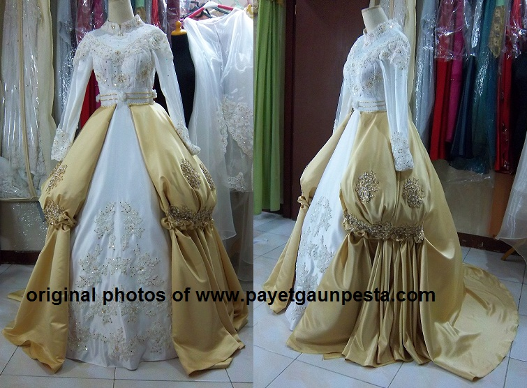 Gaya Gaun Pengantin Muslim Two In One Broken White and Gold