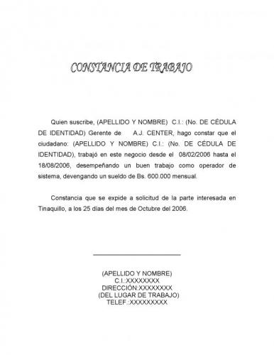 Ejemplo Carta De Constancia De Trabajo | apexwallpapers.com