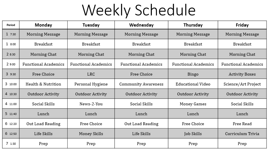 Empowered by them weekly schedule for the time being
