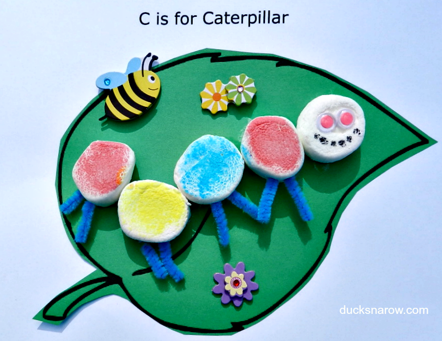 C is for Caterpillar, caterpillar craft, kids crafts #crafts #preschool #kindergarten Ducks n a Row
