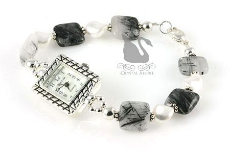 Tourmilated Quartz Gemstone Pearl Beaded Watch (W10)