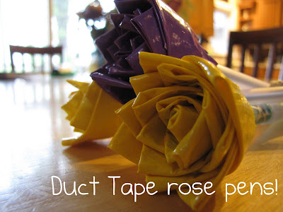 Handmade Duct Tape Rose Pens Tutorial by Squiggles