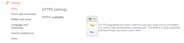 HTTPS settings in blogger