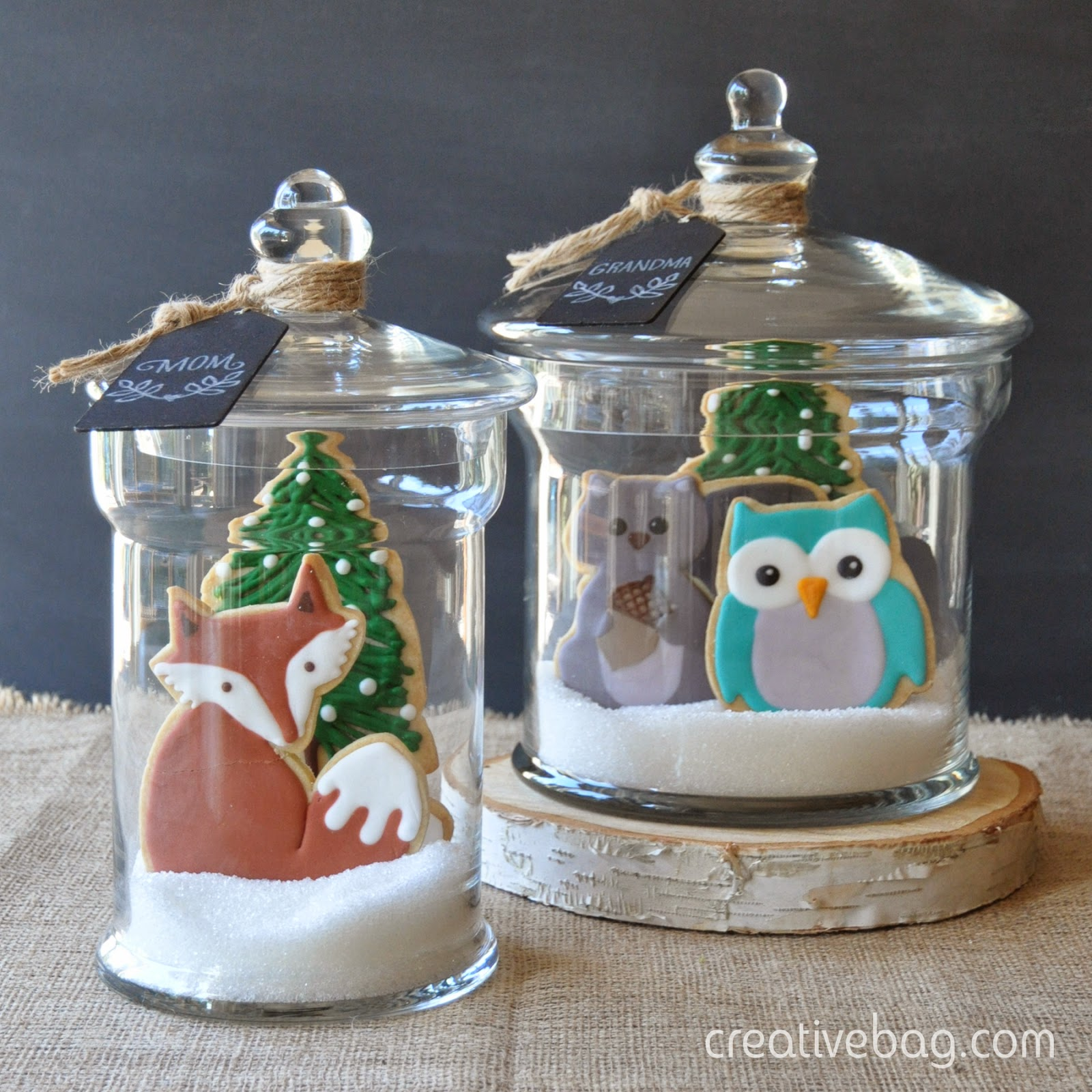 custom made cookies packaged in glass containers for holiday gift giving | creativebag.com