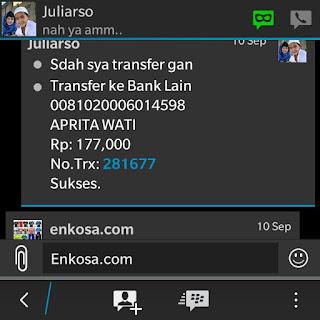 Konfirmasi bukti transfer pembayaran jersey oleh Juliarso toko online terpercaya lokasi di jakarta pasar tanah abang