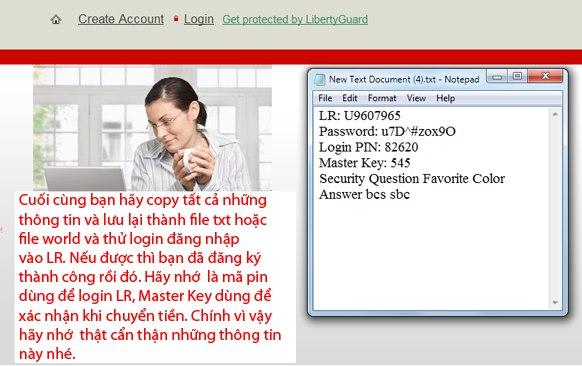 Copy và lưu lại các thông tin Login pin, số LR, Master Key, câu hỏi bảo mật LR.