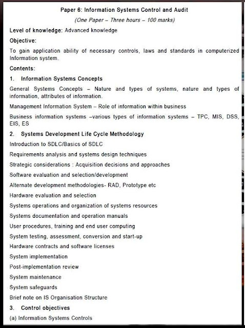 CA FINAL PAPER 6 SYLLABUS INFORMATION SYSTEMS CONTROL AND AUDIT