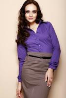 Camasa eleganta din bumbac, de culoare violet ( )