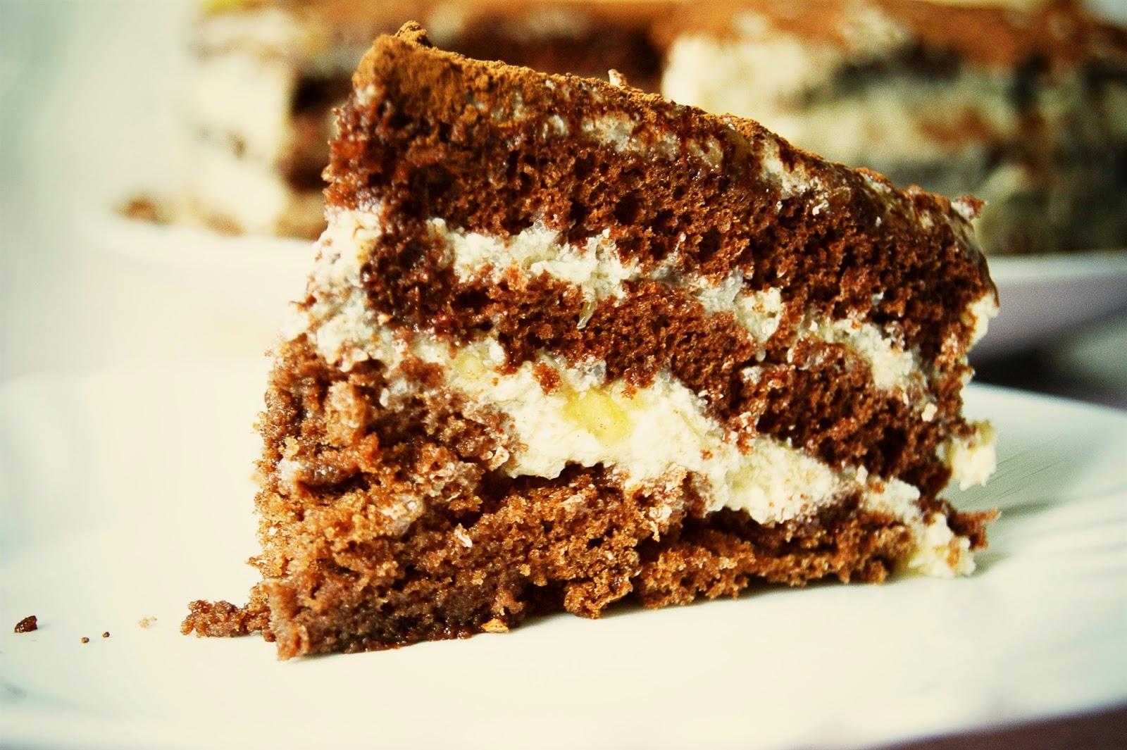 Шоколадный торт с бананами и шоколадным кремом рецепт