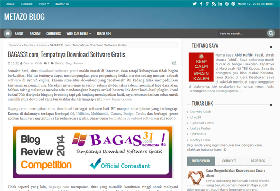 Pengumuman Event: BAGAS31 Blog Review Competition 3