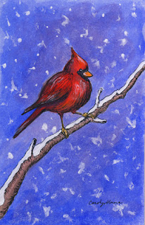 cardinal watercolor painting
