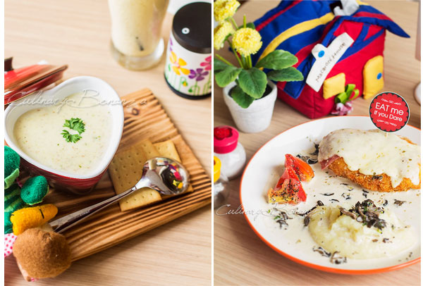 Culinary Bonanza Left: Potato Beef Bacon Soup IDR 22,500 | Right: Shroom Chicken IDR 43,000