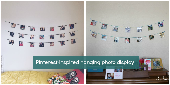 hanging photo display inspired by Pinterest
