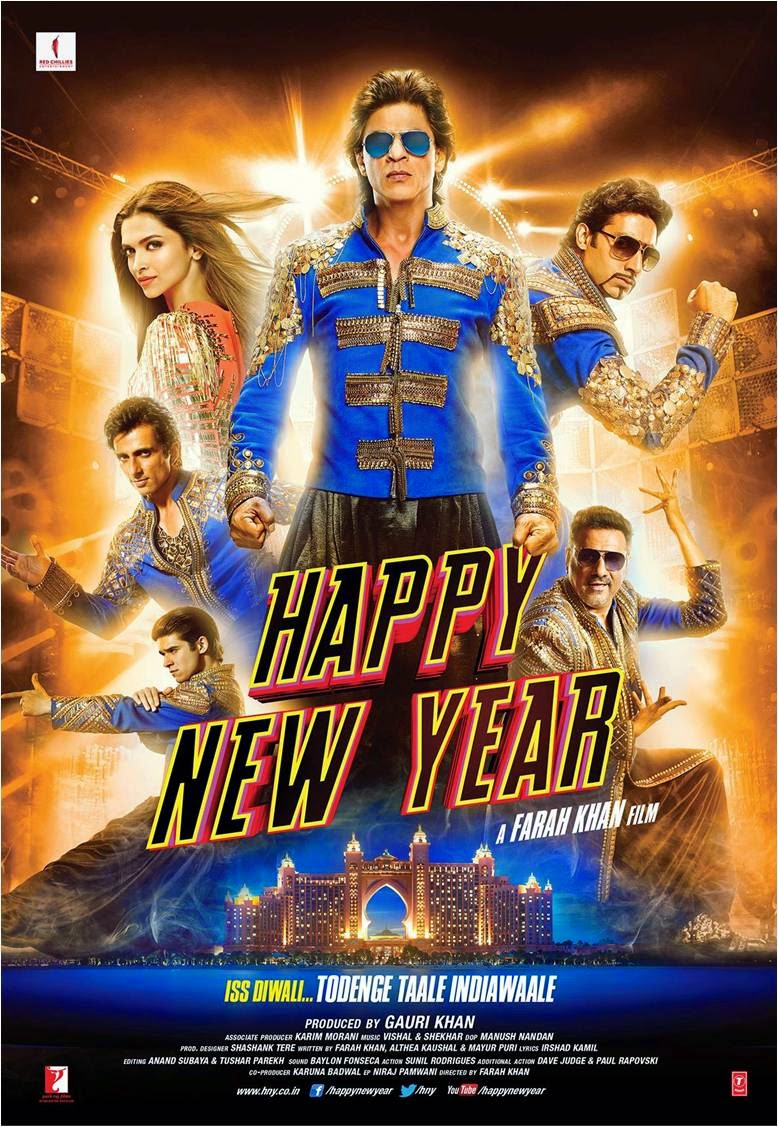 Poster of Happy New Year movie featuring Shahrukh Khan, Deepika Padukone, Abhishek Bachchan, Sonu Sod, Boman Irani and Vivaan Shah