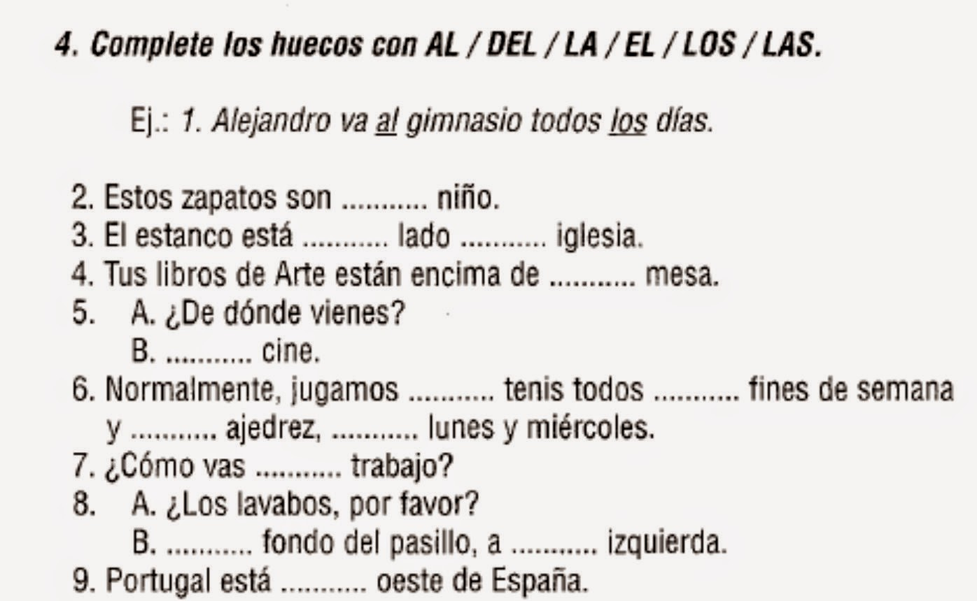 Aprende espa ol los art culos determinados e for En y frances ejercicios