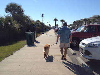 Scout walking with John on Tybee Island - December 12, 2015