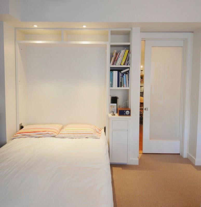 Ruang Tidur Minimalis Dengan Rak Buku Di dalamnya 3
