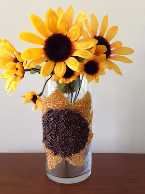diy seed bead sunflower on glass vase