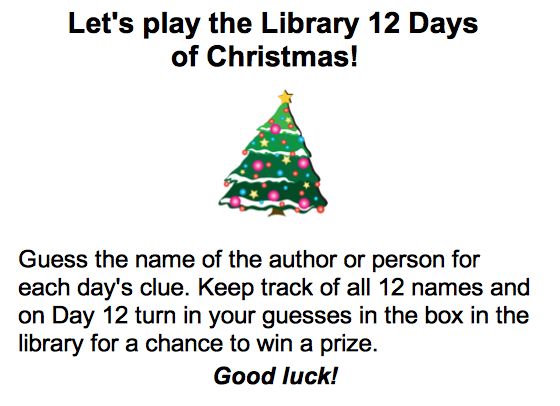Dcg Middle School Library Library 12 Days Of Christmas