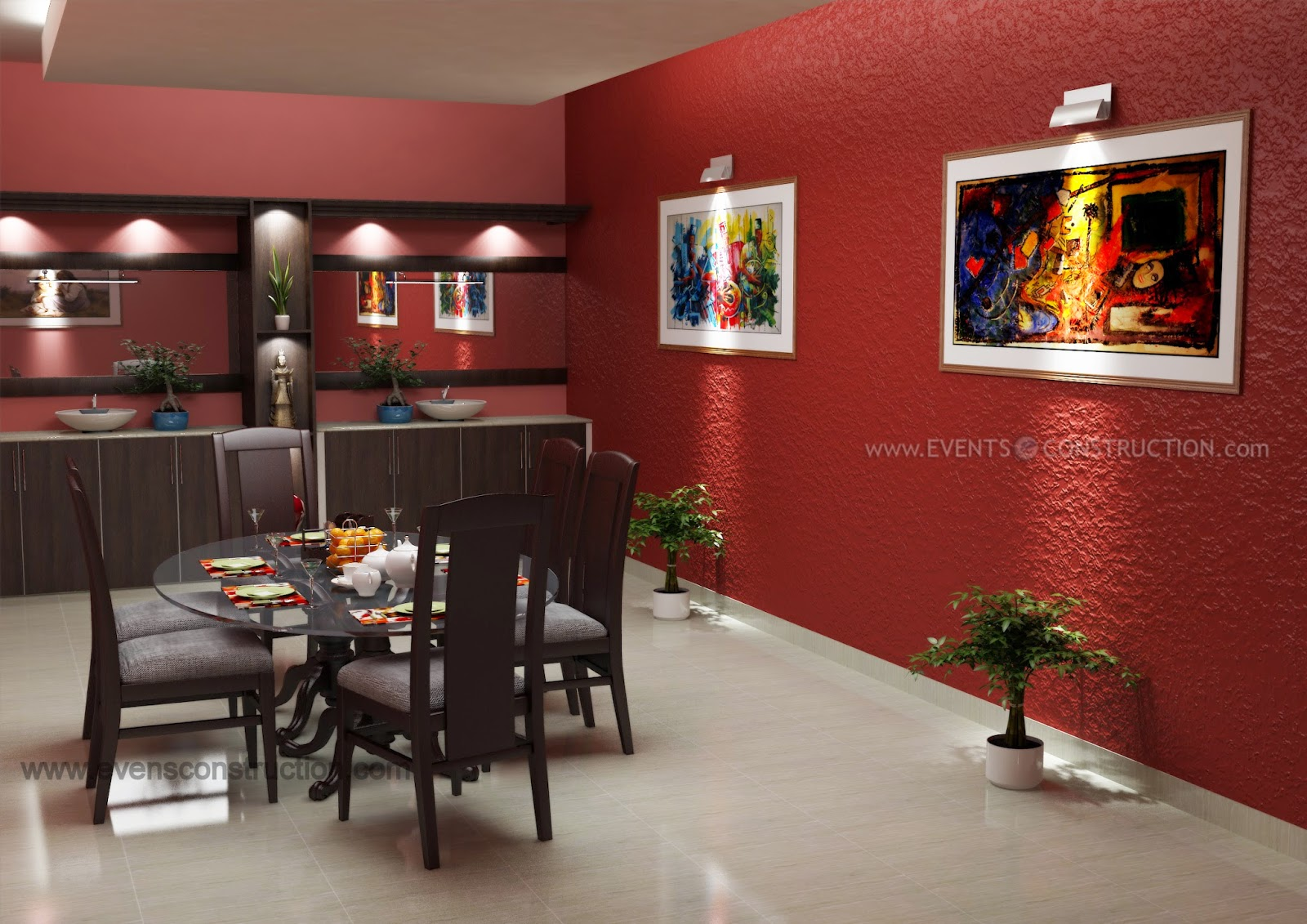 Evens construction pvt ltd modern dining room design for Dining room designs kerala