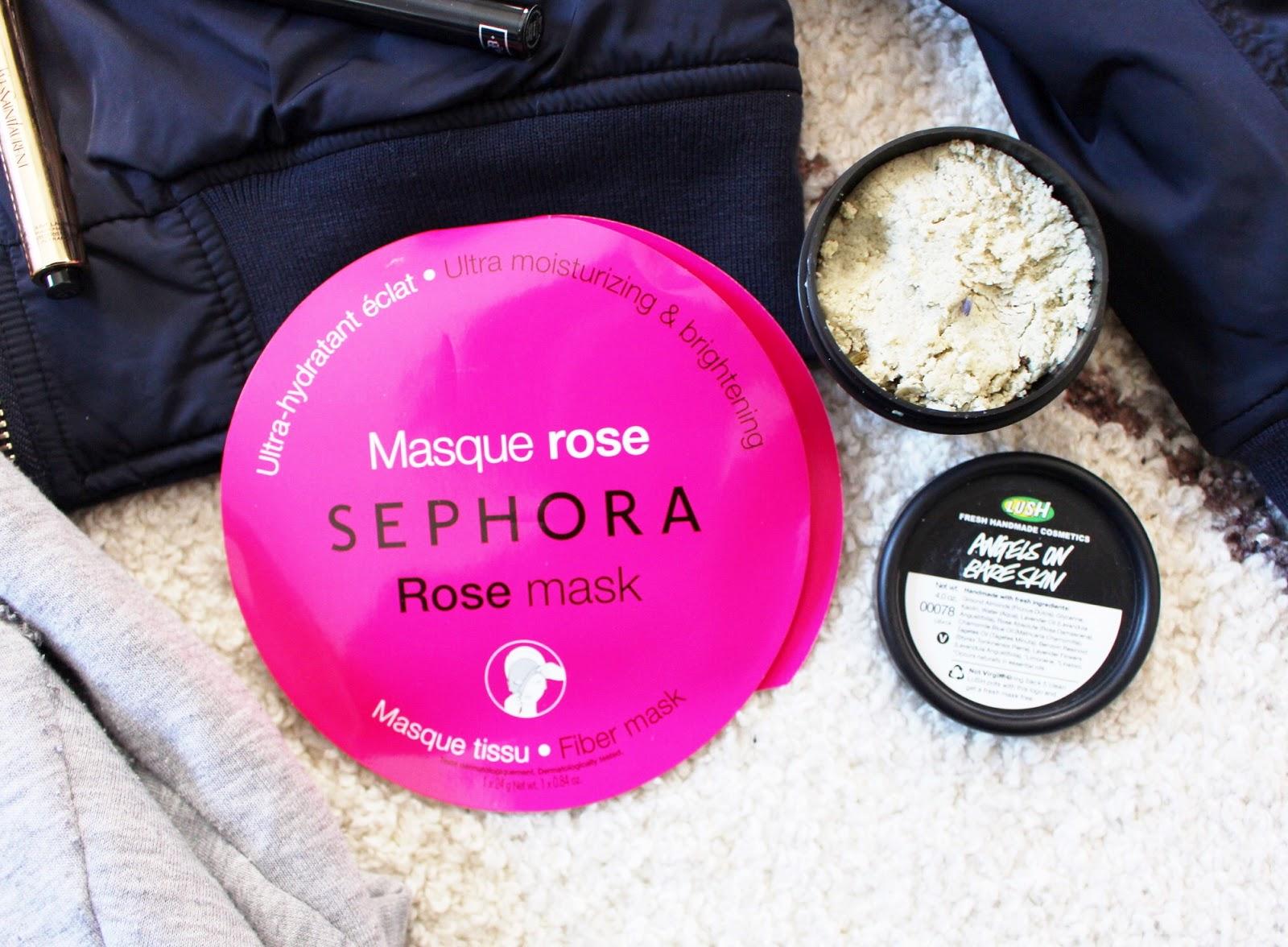 sephora rose sheet mask, lush angels on bare skin cleanser