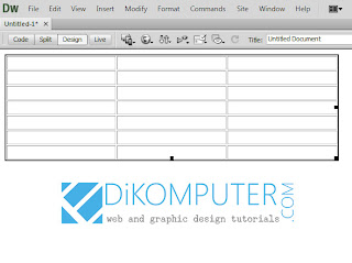 Cara membuat table di dreamweaver