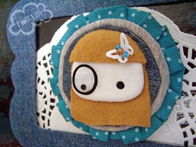 broche original foltys vs polka dots:blue (100% handmade with ♥)
