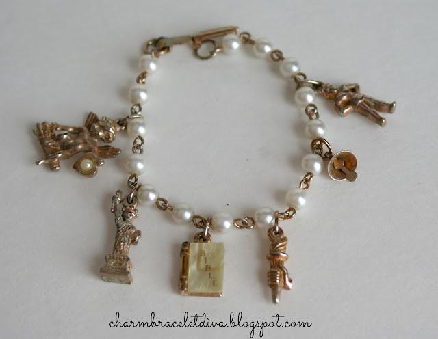 vintage bible charm statue of liberty charm bracelet