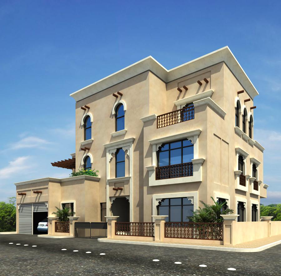 3d Front Villas Of Qutar Home Design