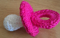 crochet dummy, pink and white