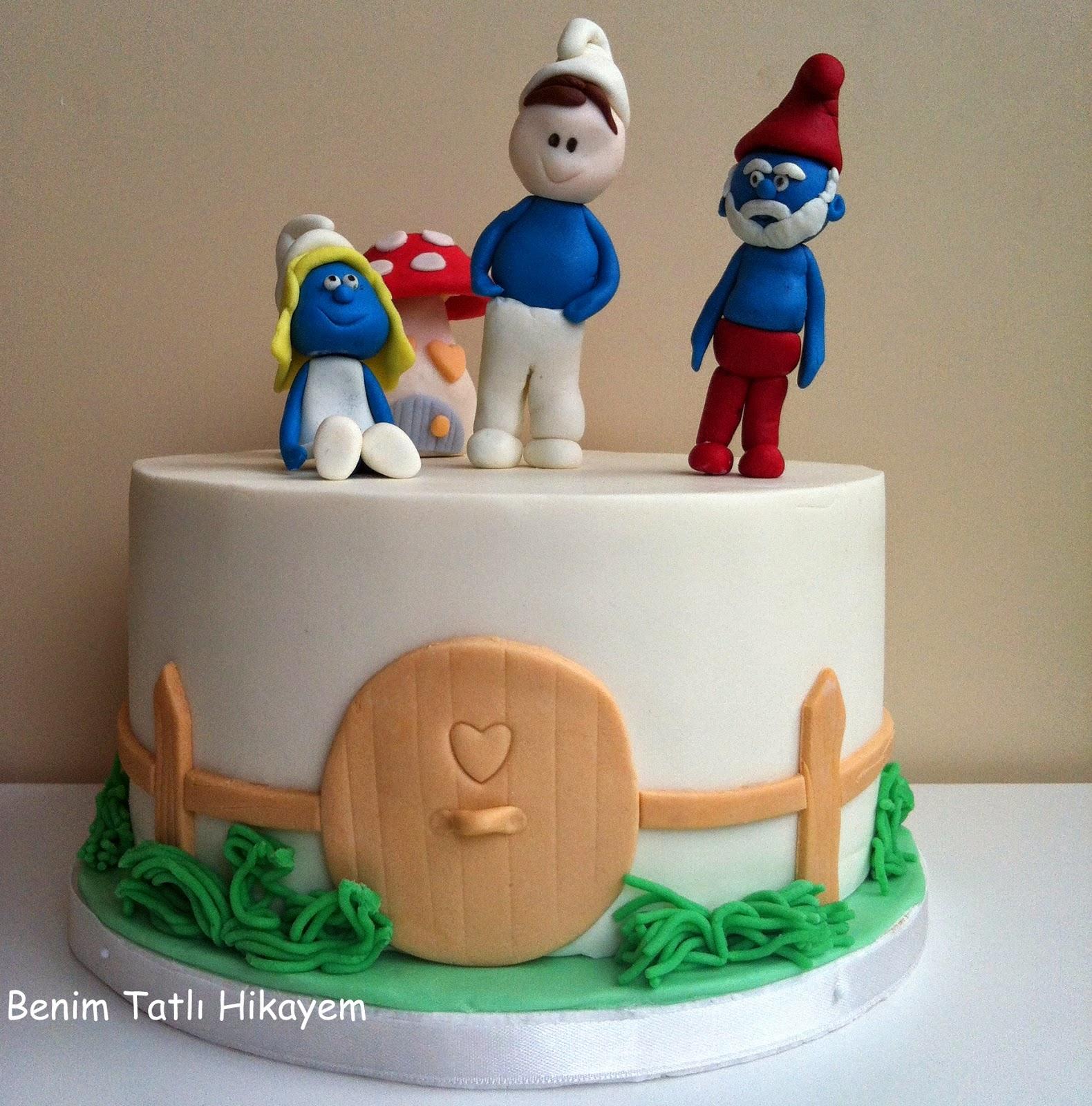 smurfs cake, smurfette, papa smurf
