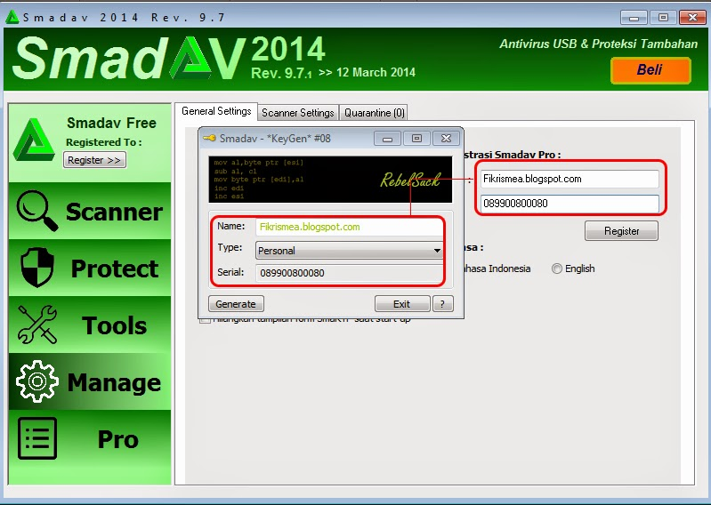 Registrasi Smadav Pro Nama sendiri