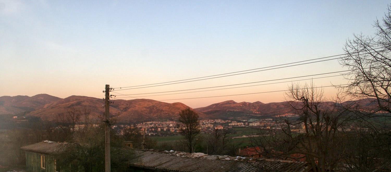 Sun reflecting on hills