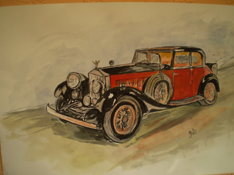 Rolls Royce old style, watercolour,  hand painted, signed Joli, A4