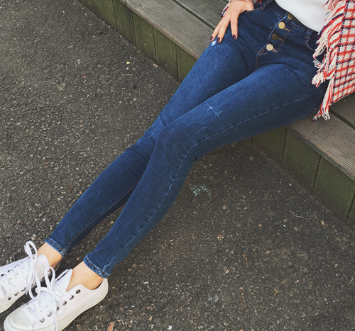 Faded Button Fly Skinny Jeans
