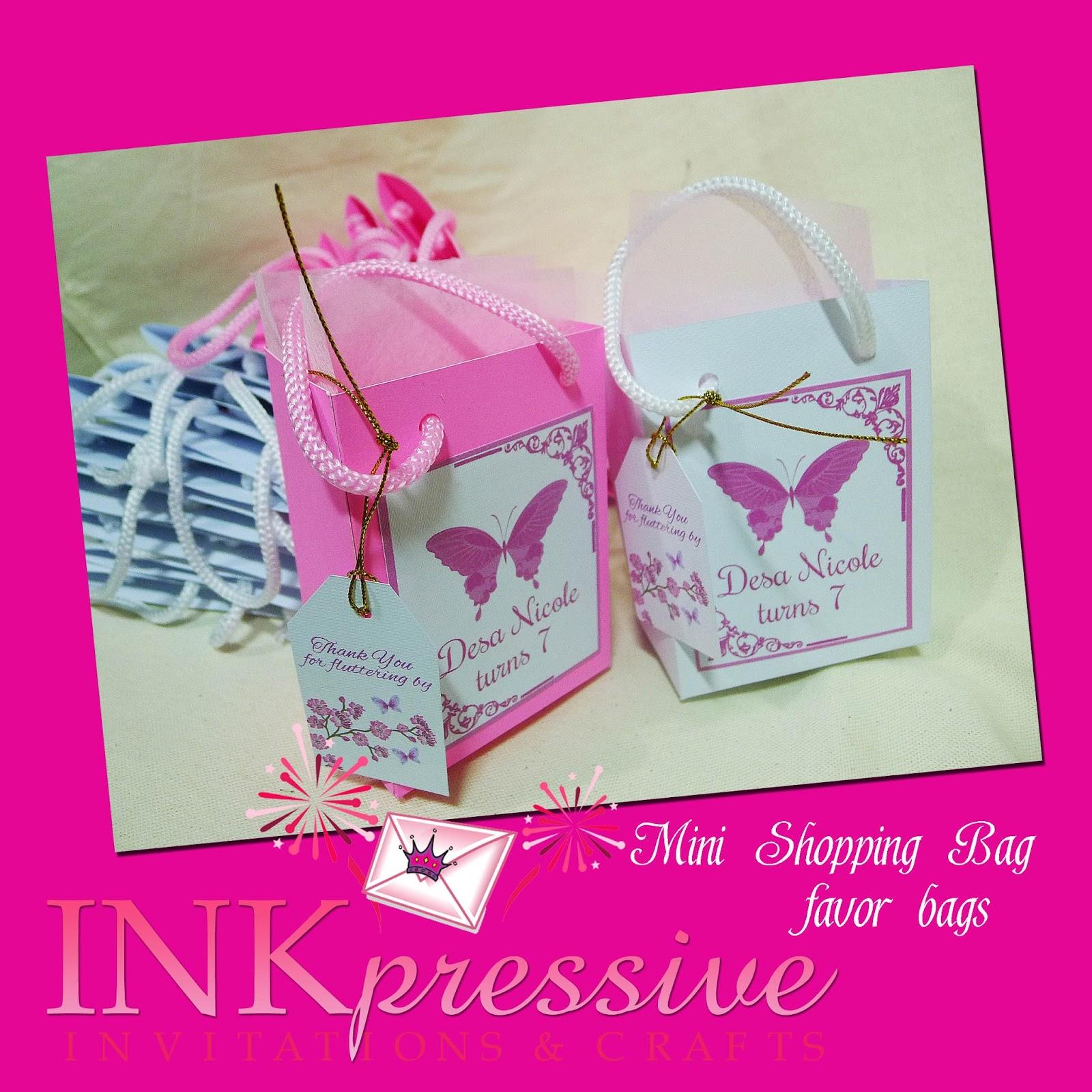 Mini Shopping Bag Favor Boxes | INKPRESSIVE INVITATIONS