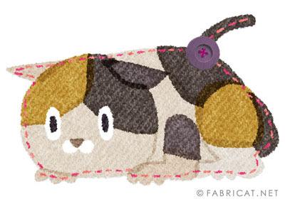 じっと構えている三毛猫のイラスト
