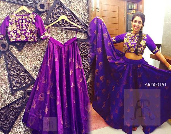 Purple Printed Lehenga Floral Blouse Saree Blouse Patterns
