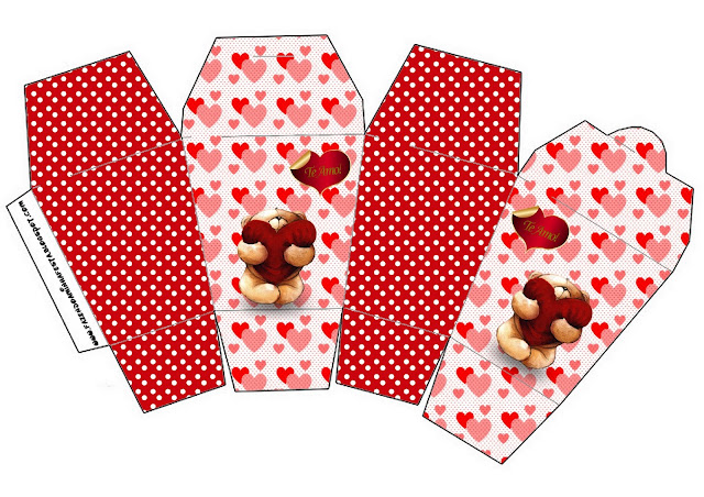 Teddy Bear in Love Free Printable Chinese Take Away Box.