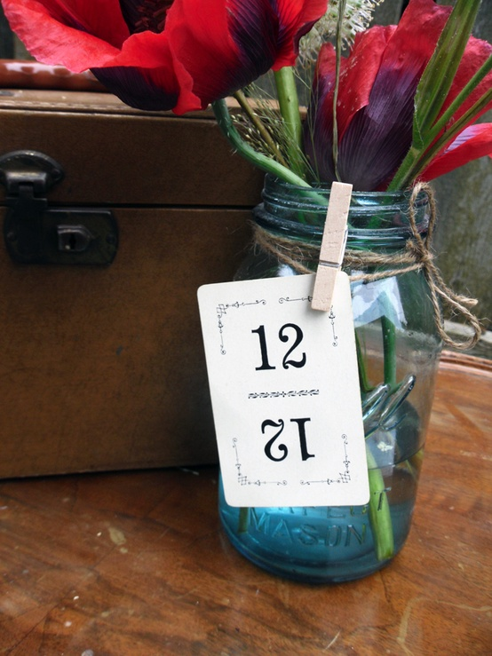 Mason Jar Wedding Ideas - Table Numbers Flowers Tag and Clothespin