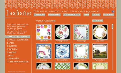 página web de Bedeene: tienda de todo tipo de accesorios de papel con un diseño especial: vajillas, servilletas, velas, manteles, vasos, cubiertos, bandejas, boles...