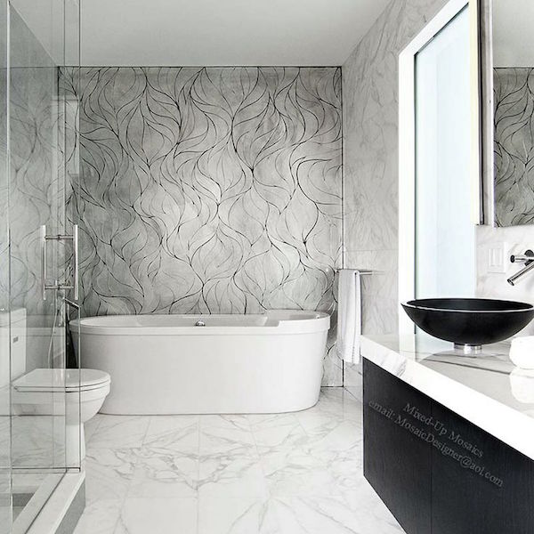 Mosaic marble tile bathroom
