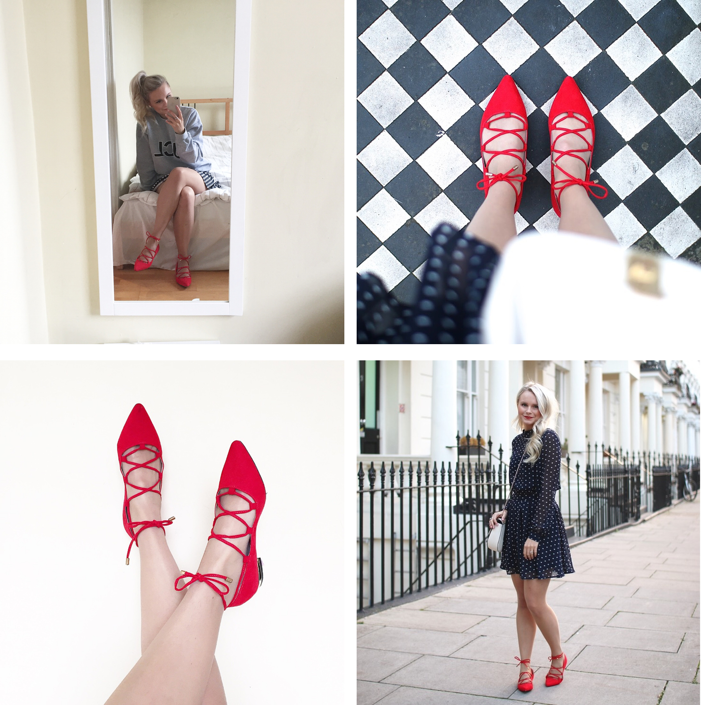 four pictures demonstrating how to wear red lace up shoes, girly, feminine