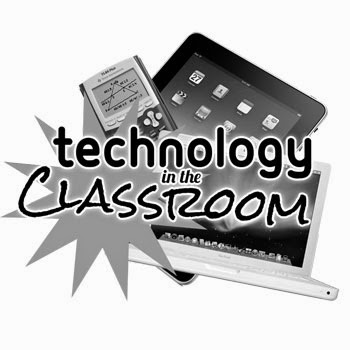"This is a picture of an Ipad, a graphing calculator, and a laptop stacked on top of each other. The words ""technology in the classroom"" are in front of all the technologies listed."