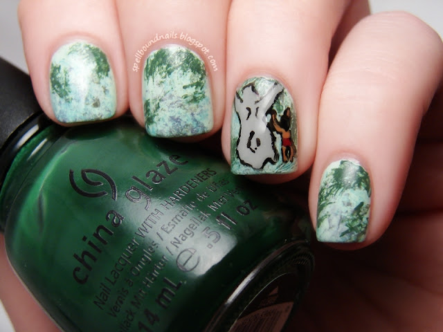 Disney nail art challenge The Jungle Book Mowgli Baloo leaves saran wrap freehand Spellbound Nails Lacquer Polish China Glaze