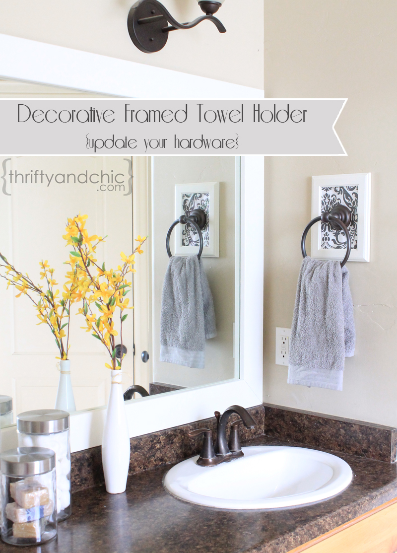 Decorative Framed Towel Holder. Thrifty and Chic   DIY Projects and Home Decor
