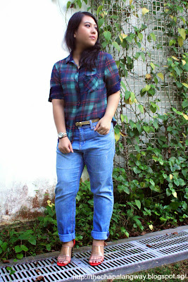 styling boyfriend jeans, plus size fashion, outfit ideas, checkered blouse, bershka